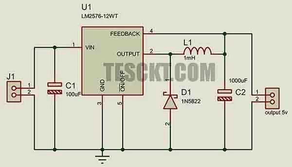 Automobile battery-based USB charger using lm2576 (1)