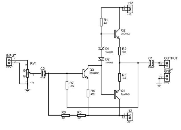 100 watt mono amplifier circuit diagram