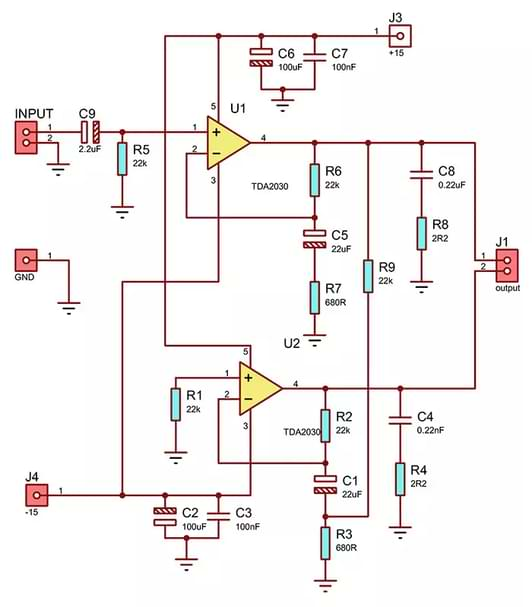 TDA2030 Bridge amplifier circuit
